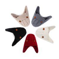 Кнопка дети вязаная шапка осень зима дети шерсть шляпа дети прекрасный зимний открытый теплый ребенок халява уха шлема CYF4543-1
