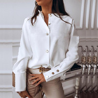 أنيقة بيضاء بلوزة قميص المرأة طويلة الأكمام buttton أزياء المرأة البلوزات 2020 المرأة قمم و البلوزات الصلبة الربيع قمم