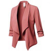 Trajes de mujer Blazers Blazers de manga larga Top Fabala Abrigo abierto Sólido Autumn Chaqueta Formal Ruffle Fashion1