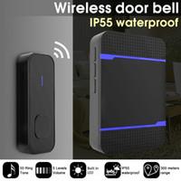 Nouveau Sonnette sans fil à distance UE AU Royaume-Uni US Plug batterie Chime avec LED Chime émetteur-récepteur intelligent sonnette de la porte étanche
