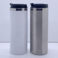 Tumbloni dritti a sublimazione in bianco da 14oz calore tazze da caffè tazze da caffè doppia parete in acciaio inox in acciaio inox flack birra tazze VT1775