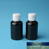 30pcs / lot Promosyon 50ml Plastik Siyah Losyonu Şişe Kadınlar Kozmetik Konteyner Beyaz Cap 5 / 3oz çevirin