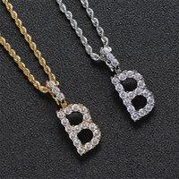 الرجال الزركون خطابات التنس القلائد قلادة مخصص اسم حرف واحد للرجال / النساء الذهب والفضة الأزياء الهيب هوب مجوهرات 73 K2