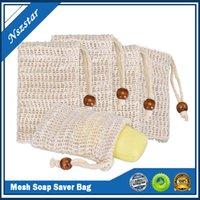 Heiße natürliche Peeling Mesh Seifenschoner Sisal Seifenschonerbeutel Beutelhalter für Duschbad Schauming und Trockenwäsche auf Lager