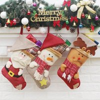 Bas de Noël fabriqués à la main Cadeau Enfants Cadeau Cadeau Santa Sac Claus Snowman Deer Bas Socks Noël Décoration Jouet Cadeau N ° 31 31 33 33