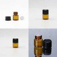 Quente vendendo pequenas garrafas de óleo essencial âmbar com orifício RDUCER BANCE CAPS 1ML Garrafa de vidro Marrom Valas de vidro vazio HHE3117 63 J2