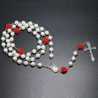Имитация жемчуг бисера длинные цепочки четки колье католические розарии для женщин подарок кросс кулон ожерелья христианские украшения