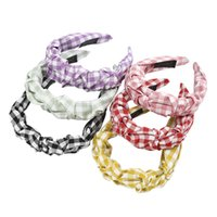 Pleated Lattice Women Headband Satin Bezel New Turban for Girls Hairbands Grid Fabric Hair Accessories Hair Hoop