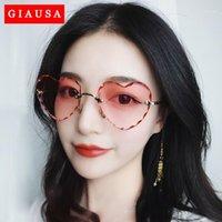 2020 Сервисные солнцезащитные очки без оправы сердца женщины тонкие металлические рамки ультрафиолетовые защиты от ультрафиолетовых солнцезащитных очков для пляжного праздника Фестивальский рыбалка1