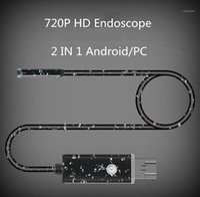 1 m 2m 7mm Objektiv 2 in 1 Android / PC 720P HD-Endoskop-Röhre wasserdichtes Schlangen-Boreskop USB-Inspektion Mini-Kamera mit 6 LED1