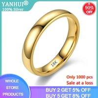 Venta en una pérdida! Nunca se desvanecen anillos originales de acero inoxidable sólido 18k anillos de brillo de oro para mujeres y hombres pares simples KR050