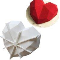 Hot 2021 Moldes de silicone de coração quebrável para o chocolate diamante molde Breakable coração moldes para chocolate mousse bolo bolo sn1867