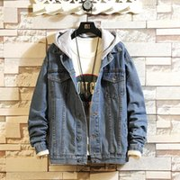 2020 new arrival Men Autumn Fashion Loose Denim Jacket casual mens with hood plus size M L XL 2XL 3XL 4XL 5XL