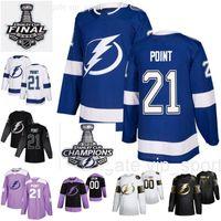 Campeones de la Copa Stanley 2020 Finales 21 Brayden Punto jerseys Hombres Mujeres Niños Tampa Bay Lightning equipo de hockey azul Hombre Blanco Negro Mujer de la juventud