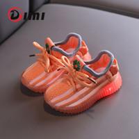 DIMI Baby Light Up Chaussures Chaussures à tricoter Respirant bébé Toddler Chaussures non glissantes Baskets de bébé transparent transparent pour fille garçon 201026