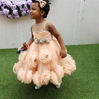 Orange Puffy Tüll Blumenmädchenkleid für Hochzeit Kleine Prinzessin Party Kleid Pageant Kleid Größe 2 4 6 12 16Y1
