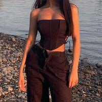 Top Femmes Summer 2020 Sexy Partie Solide Poffre Solide Corset Bandage Gilet Débardeur Y2K Femme Ropa Mujer Veement Femme