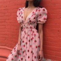 Laamei Sweet Clobberry Seckined Вышивка Roots Maxi Женщины Летний V-образным вырезом Словочный Рукав Лук Розовый Тюль Сетка Длинное Платье Q1229