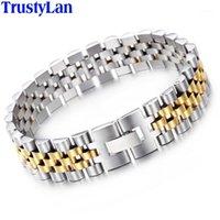 الرابط، سلسلة Trustylan 15 ملليمتر سوار واسعة الرجال الرجال watchband نمط قابل للتعديل الرجال أساور لا تتلاشى الذهب لون مجوهرات مجوهرات armband1