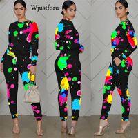 Wjustforu Tie Dye Winter 2 Piece Women Streetwear Long Sleeve O-Neck Tops High Waist Pencil Pants Matching Set Outfits Fall 2020