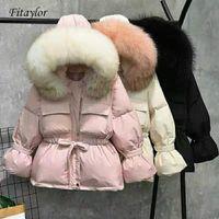 Fitaylor большой натуральный енот мех зимняя куртка женщин 90% белые утки вниз пальто толстые теплые парки стягивания завязывать короткие снежные пальто 201023
