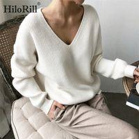 HiloRill mujeres suéter ocasional del suéter V Cuello sólido de manga larga de punto suéteres de otoño invierno de la cachemira de la túnica suelta Tops 201017
