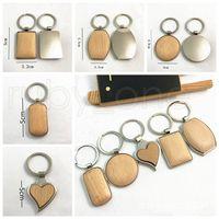 Творческий DIY Металл Деревянный брелок брелки круглый прямоугольник формы сердца Blank Wood Key Rings ключницы Подарки Party Favor RRA3794