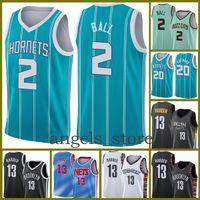 """Charlotte """"Hornets"""" Mens Lamelo 2 Ball Gordon 20 Hayward 2021 Nouveau Jersey Basketball Collin 2 Sexton James 13 Harden Grey"""