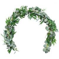 Artificial Eucalyptus Garland Faux Silk Eucalipto Folhas Handmade Garland Greenery Wedding Backdrop Arch Wall Decoration1