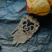 New Hot Ins Moda Design Design Uomini Donne Brooches Pins Giallo Placcato oro placcato Bling Crystal CZ Long Tassels Pins Pins Spille Bel regalo