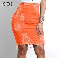 المرأة الجينز Kexu عالية الخصر قصيرة الدنيم تنورة bodycon الجوف خارج هول جان شرابة عارضة الشارع