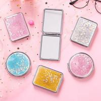 Nouvelle poche d'argent mince miroir compact blanc rond maquillage miroir miroir bricolage cosmétique miroir cadeau de mariage