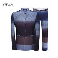 Trajes para hombres blazers yffushi 2021 moda hombres traje 2 piezas degradado aleatorio color chino mandarín Último abrigo diseña Slim Fit Plus S