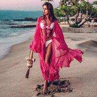 Traje de baño para mujer 2021 Mujeres Traje de baño Cubierta de manga Kaftan Playa Vestido Túnica Robe de Plage Sólido Algodón Paro High Collar Up1