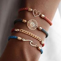 Браслет набор ювелирных изделий ручной тканью веревку четырех частей браслеты для женщин браслеты браслеты передач красный веревка пара браслет подарок