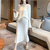 20201018 Suéter blanco espesado de dos piezas en otoño e invierno