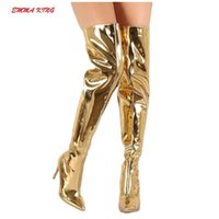 Emma King New Fashion Sexy Women Over The Knee Boots High Heels Patent Leather Pointed Toe Ladies Thigh High Botas Shoes Size 43