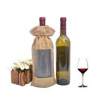 """10 قطع 5.9 """"x12.6"""" الخيش الطبيعي جوت هدية أكياس زجاجة النبيذ مع نافذة الأورجانزا للنبيذ الأحمر الشمبانيا حفل زفاف صالح حقيبة"""