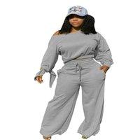S-3XL Frauen Elastic Wide Leg Hose und Fleeced Langarm-Kapuzenpulli Crop Tops Set Two Piece Outfits Art und Weise beiläufige Tuch Anzug E92901
