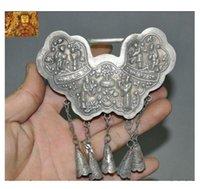Chine ancienne argent tibétain gens bête cigale verrouillage Forme Talisman Amulette Pendentif