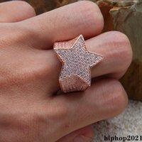 Oro argento oro rosa color placcato colore di alta qualità cz pietra stella forma hip hop jewerly anelli da uomo con anelli di diamanti ghiacciati