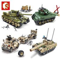 الحرب SEMBO دبابات العسكرية سيارة لبنات البناء دبابة قتال رئيسية نموذج سلاح الجيش WW2 الشكل الجندي DIY تربية الطوب اللعب
