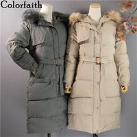 Colorfaith New Autumn Winter Women Long Jacket Quilted Office Lady Lace Up Puffer Parkas High-Quality Hooded Coat CO809 201106