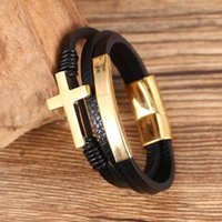 Punk Fashion Bangles Black Cross Initial Stainless Steel Wov...