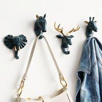 동물 머리 벽 후크 키 홀더 벽 DCOR 말 코끼리 사슴 머리 키 행거 하우스 룸 홈 장식 우산 핸드백 홀더 201021