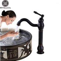 Banyo Lavabo Bataryaları Tezgah Siyah Mutfak Musluk Tek Üst Kolu Döner Borulu Yıkama Havzası Mikserler ve Soğuk Su1