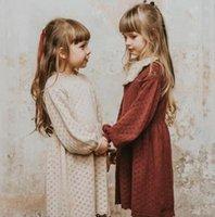 اللباس الفتيات ملابس طويلة الأكمام الجوف خارج محبوك تصميم جولة اللباس طوق الفتاة اللباس الأنيق 100٪ قطن الاطفال الملابس