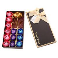 Kreative goldrose künstliche seife blume romantisch mit bär puppe mutter valentine geburtstagsgeschenk