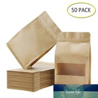 50PCS Stand Up Bags,Kraft Zip Lock Matte Window Reusable Sealing All-Purpose Food Storage Pouches Reclosable for Nuts Beans Tea