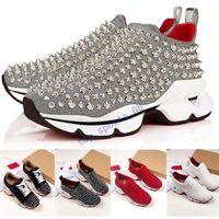 US12 En Iyi Moda Kırmızı Alt Erkekler Kadınlar Rahat Ayakkabılar Spike Perçinler Rhinestone Elbise Parti Yürüyüş Ayakkabıları Sneakers Chaussures de Spor